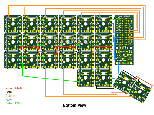MxLEDBit Single Switch PCB Hand Wiring Corne example