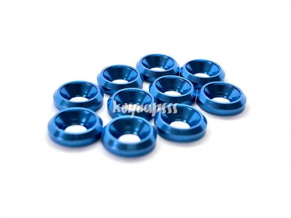 M3 conical washer with the chamfer anodized counter sink blue