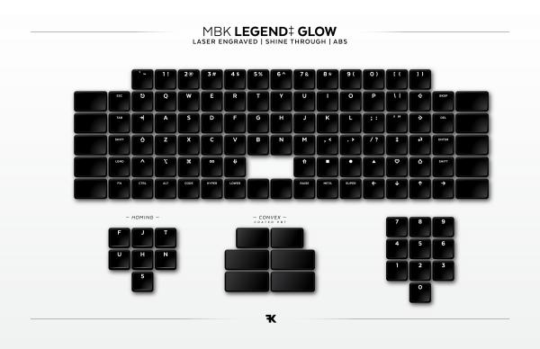 MBK Glow Choc Low Profile Keycap Set shine-through backlit Kit Overview
