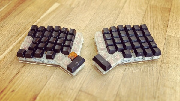 ErgoDash Acrylic Plate Case Split Keyboard - 4-Key Thumb Cluster