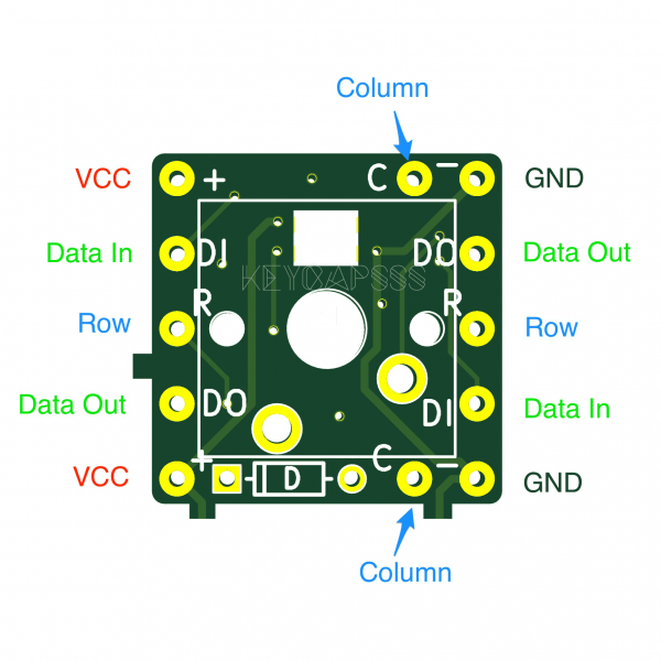 MxLEDBit Single Switch PCB Pinout MX variant