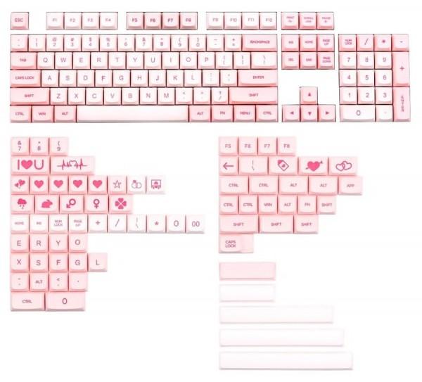 XDA Pink Valentine's day keycap set PBT 176 keys
