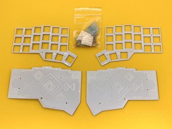 CRKBD PCB Plate Case Gatsby White Silver